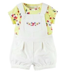 Carter's White and Yellow Overalls Shortalls Set